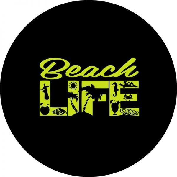 Yellow Beach Life Tire Cover Image