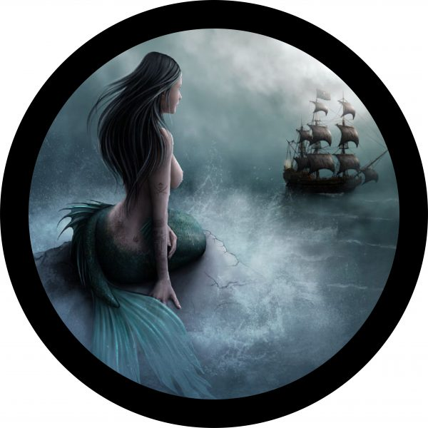 Mermaid and Pirate Ship Tire Cover Image