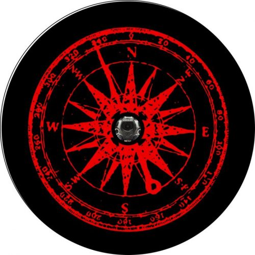 Red Distress Compass Back Up Camera Tire Cover