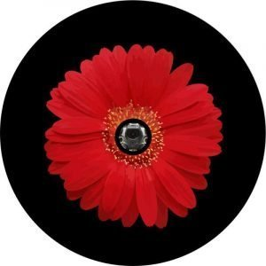 Image of a Red Sunflower Back Up Camera Tire Cover
