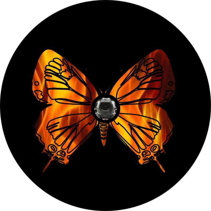 Fire Butterfly Back Up Camera Tire Cover
