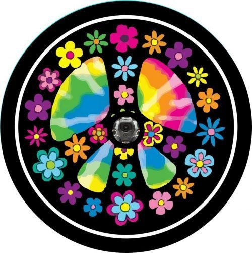 Image of a Flower Peace Sign Back Up Camera Tire Cover
