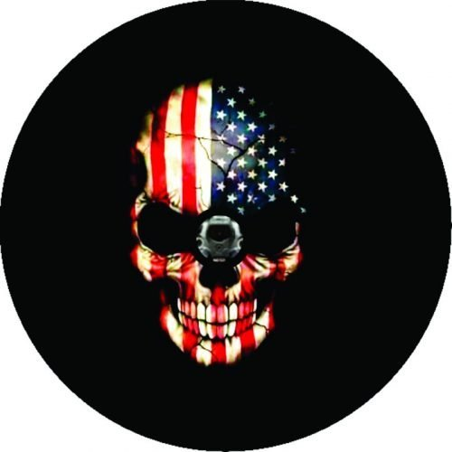 Image of a Flag Skull Tire Cover
