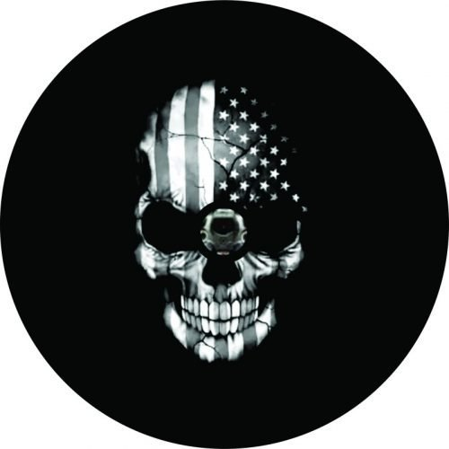 Image of a Flag Skull Camera Black Tire Cover