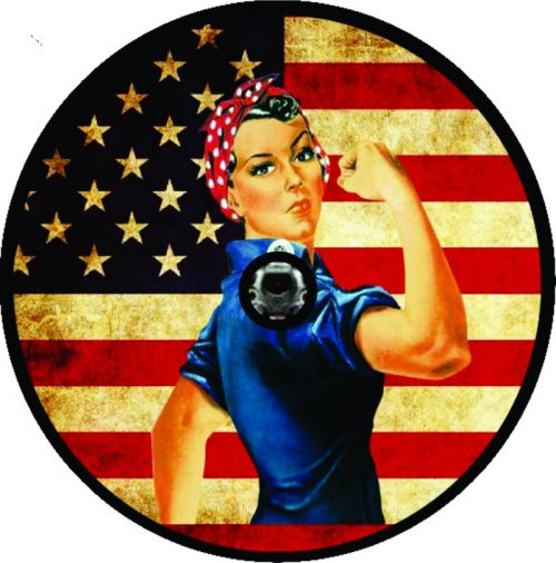 Image of a Rosie Flag Tire Cover