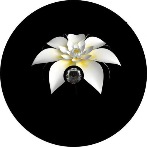 Image of a White Flower Back Up Camera Tire Cover