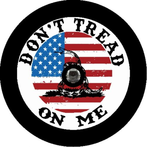 Image of a Don't Tread on Me Camera Tire Cover