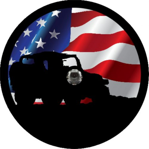 Image of a Jeep Shadow Wavy Flag with camera Tire Cover
